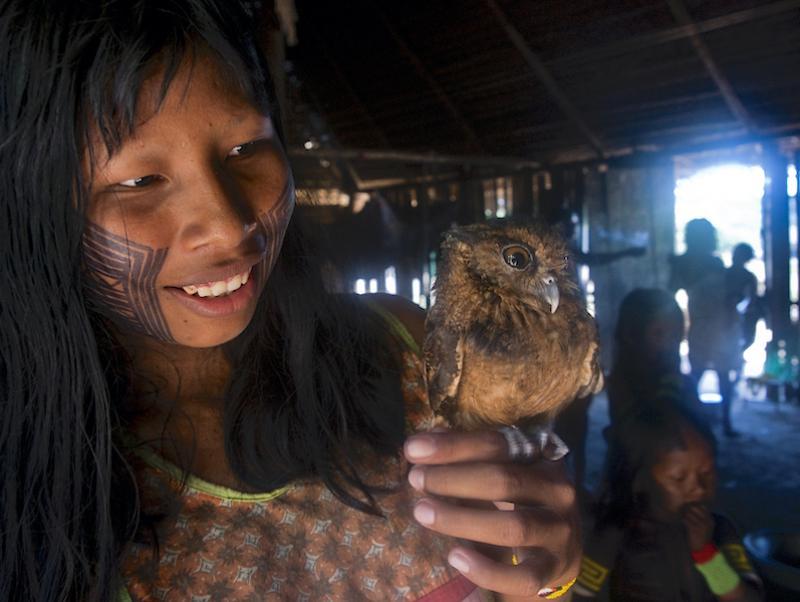 Kayapo girl with owl by cristina mittermeir