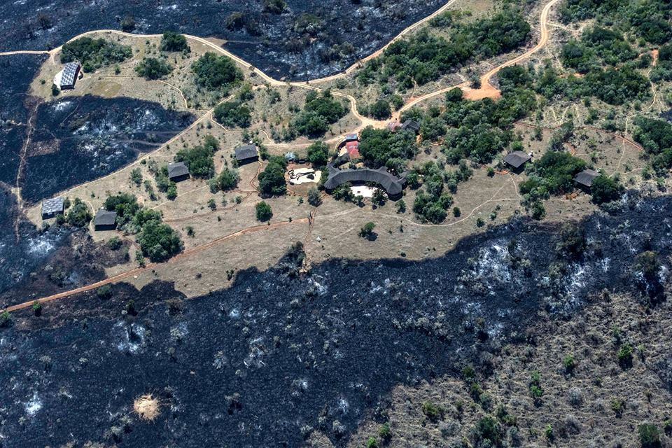 Wildfires are a problem in drought years.  This 2015 fire stopped just short of the Makena Hills retreat. ICFC has helped the conservancy buy a tractor to build fire breaks.
