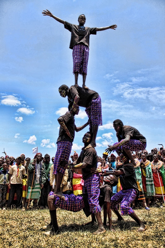Pokot youth double as acrobats and trainee conservation guardians.