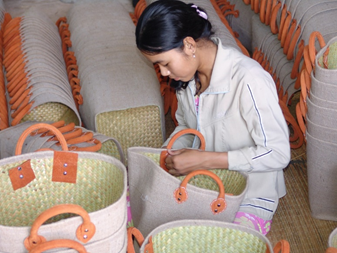 Weaving baskets with the wetland grass <i>Lepironia</1>. photo: ICF