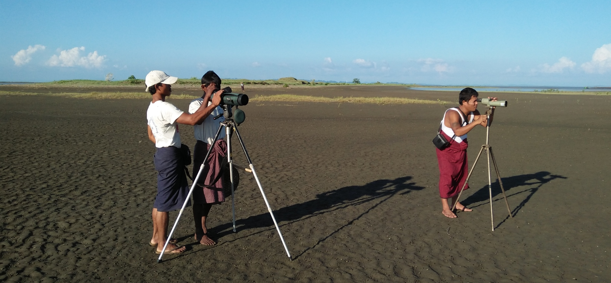 Project personnel search for spoonbills and other shorebirds. Photo credit: BANCA